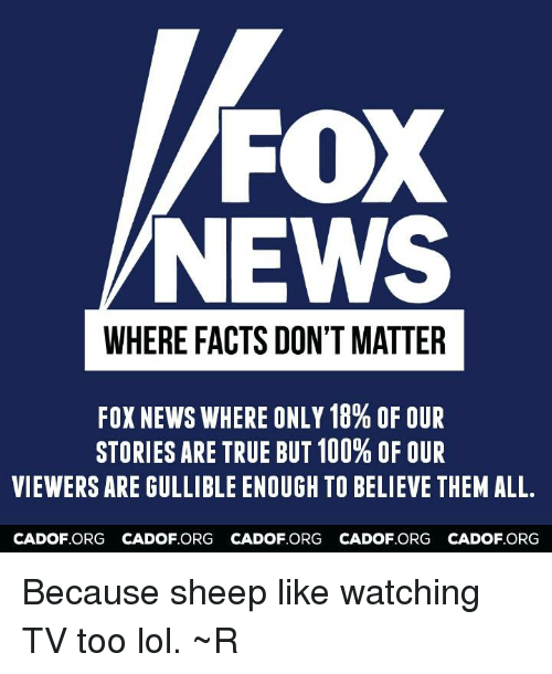 Memes, Fox News, and Foxnews: FOX  NEWS  WHERE FACTS DON'T MATTER  FOXNEWS WHERE ONLY 18% OF OUR  STORIES ARE TRUE BUT 100% OF OUR  VIEWERS ARE GULLIBLE ENOUGH TO BELIEVE THEM ALL.  CA DOF ORG CADOF ORG CADOF ORG CADOF ORG CADOF ORG Because sheep like watching TV too lol. ~R
