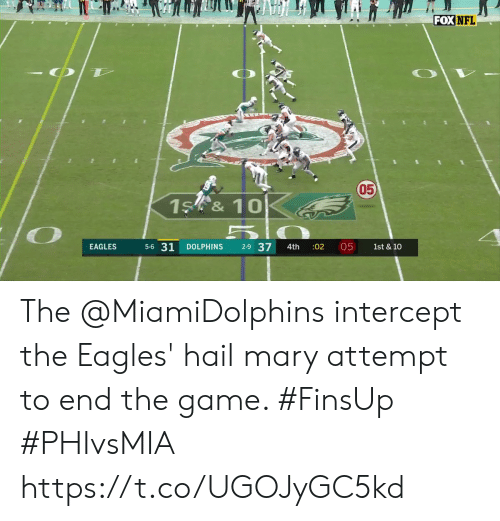 Dolphins: FOX NFL  050  1S &10  5-6 31  2-9 37  05  EAGLES  DOLPHINS  :02  1st & 10  4th The @MiamiDolphins intercept the Eagles' hail mary attempt to end the game. #FinsUp #PHIvsMIA https://t.co/UGOJyGC5kd