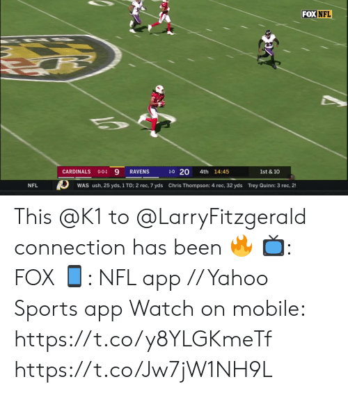 Cardinals: FOX NFL  1-0 20  CARDINALS  4th 14:45  RAVENS  1st & 10  O-O-1  Chris Thompson: 4 rec, 32 yds Trey Quinn: 3 rec, 2  NFL  WAS ush, 25 yds, 1 TD; 2 rec, 7 yds This @K1 to @LarryFitzgerald connection has been 🔥  📺: FOX 📱: NFL app // Yahoo Sports app Watch on mobile: https://t.co/y8YLGKmeTf https://t.co/Jw7jW1NH9L