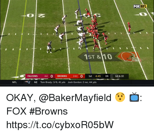 Memes, Nfl, and Tom Brady: FOX  NFL  1ST &10  FALCONS 44 0 BROWNS 2-61 O 1st 4:45 06 1st & 10  NFL NE Tom Brady: 3/6, 41 yds Josh Gordon: 2 rec, 44 yds OKAY, @BakerMayfield 😯  📺: FOX #Browns https://t.co/cybxoR05bW