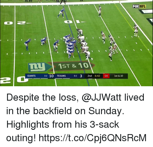 Memes, Nfl, and Giants: FOX  NFL  1ST &10  GIANTS  0-2 10 TEXANS  0-2 3 2nd 6:42 04 1st & 10  2  0 Despite the loss, @JJWatt lived in the backfield on Sunday.  Highlights from his 3-sack outing! https://t.co/Cpj6QNsRcM