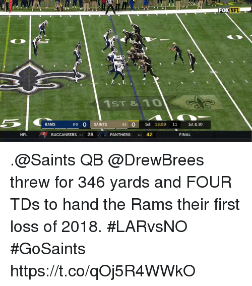 Memes, Nfl, and New Orleans Saints: FOX NFL  1ST & 10  RAMS  8-0 0 SAINTS  61 01st 13:59 11 1st & 10  BUCCANEERS 35 28 PANTHERS 62 42  FINAL .@Saints QB @DrewBrees threw for 346 yards and FOUR TDs to hand the Rams their first loss of 2018. #LARvsNO  #GoSaints https://t.co/qOj5R4WWkO