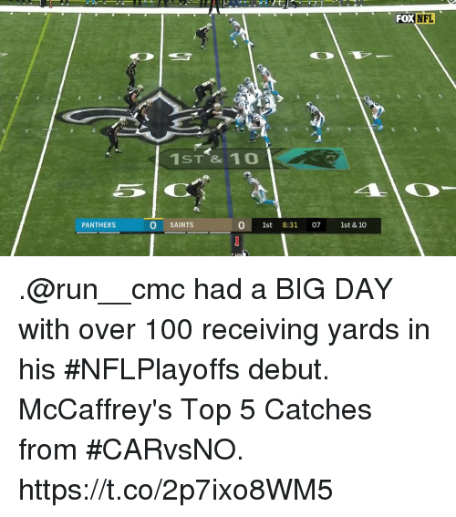 cmc: FOX  NFL  1ST & 10o  PANTHERS  O SAINTS  0 1st 8:31 07 1st & 10 .@run__cmc had a BIG DAY with over 100 receiving yards in his #NFLPlayoffs debut.  McCaffrey's Top 5 Catches from #CARvsNO. https://t.co/2p7ixo8WM5