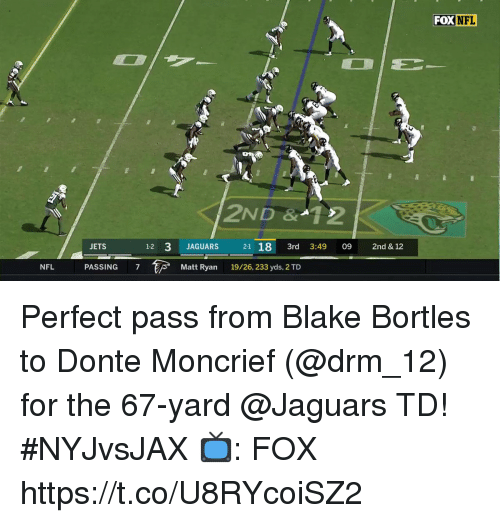 Memes, Nfl, and Jets: FOX  NFL  2ND &12  JETS  1-2 3 JAGUARS  12 3 JAGUARS 21 18 3rd 3:49 09 2nd & 12  PASSING 7  Matt Ryan  19/26, 233 yds, 2 TD  NFL Perfect pass from Blake Bortles to Donte Moncrief (@drm_12) for the 67-yard @Jaguars TD! #NYJvsJAX  📺: FOX https://t.co/U8RYcoiSZ2