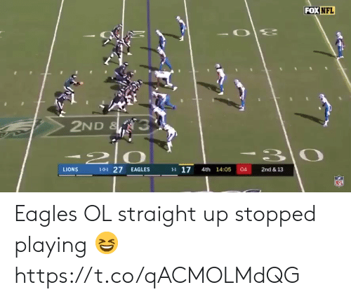 Straight Up: FOX NFL  2ND & 3  210  101 27 EAGLES  H 17 4th 14:05 04  LIONS  2nd & 13  NFL Eagles OL straight up stopped playing ? https://t.co/qACMOLMdQG