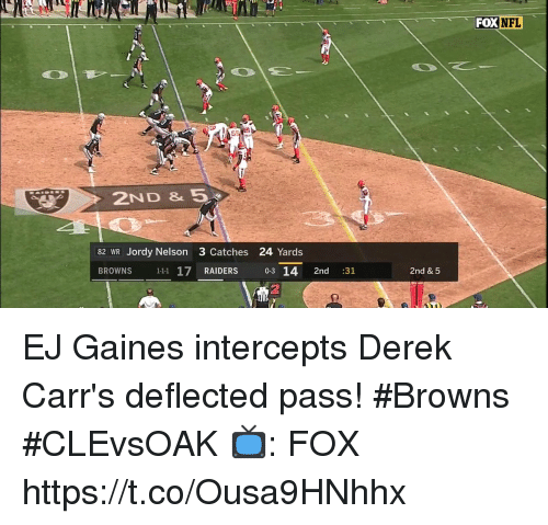 Memes, Nfl, and Browns: FOX NFL  2ND &5  82 WR Jordy Nelson 3 Catches 24 Yards  BROWNS 111 17 RAIDERS 0-3 14 2nd :31  2nd & 5 EJ Gaines intercepts Derek Carr's deflected pass!  #Browns #CLEvsOAK  📺: FOX https://t.co/Ousa9HNhhx