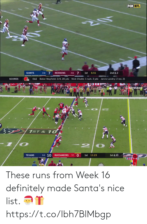 chubb: FOX NFL  3-11 7  3-11 7  6:51  GIANTS  REDSKINS  1st  2nd & 2  Baker Mayfield: 3/4, 28 yds  Nick Chubb: 1 rush, 3 yds  Jarvis Landry: 2 rec, 21  SCORES  CLE   NFL METWORK  97  1ST & 1ơ  9-5 10  TEXANS  BUCCANEERS  1st 11:23  7-7  1st & 10 These runs from Week 16 definitely made Santa's nice list. 🎅🎁 https://t.co/Ibh7BlMbgp