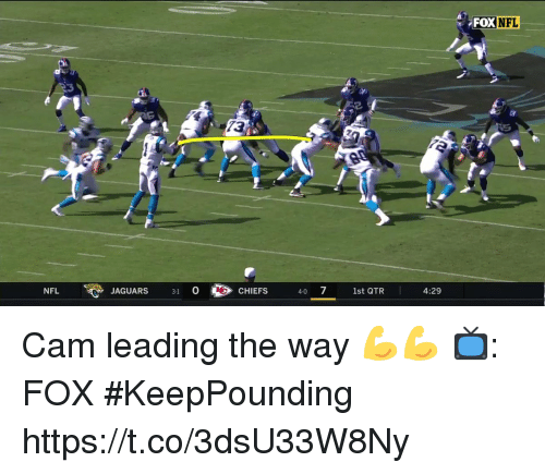 Memes, Nfl, and 🤖: FOX  NFL  3  13  NFL  JAGUARS 31 0CHIEFS  1st QTR  4:29 Cam leading the way 💪💪  📺: FOX #KeepPounding https://t.co/3dsU33W8Ny