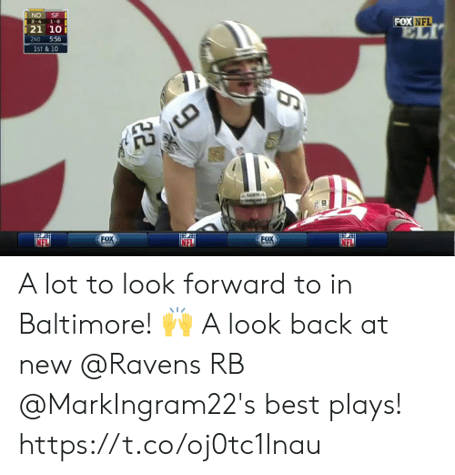 Baltimore: FOX NFL  3-4 1-6  21 10  2ND 5:56  1ST & 10  FOX  FOx  NEL A lot to look forward to in Baltimore! 🙌   A look back at new @Ravens RB @MarkIngram22's best plays! https://t.co/oj0tc1lnau