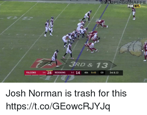 Josh Norman, Nfl, and Washington Redskins: FOX  NFL  3RD & 13  FALCONS 34 28 REDSKINS 5-2 14 4th 9:45 09 3rd & 13 Josh Norman is trash for this  https://t.co/GEowcRJYJq