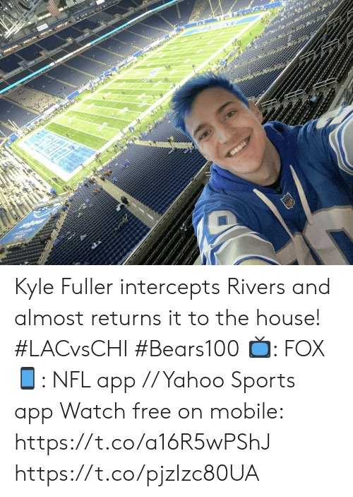 Memes, Nfl, and Sports: FOX NFL  3RD & 9  0  3-3 0  CHARGERS  :48  02  3rd & 9  2-5  BEARS  1st Kyle Fuller intercepts Rivers and almost returns it to the house! #LACvsCHI #Bears100  📺: FOX 📱: NFL app // Yahoo Sports app Watch free on mobile: https://t.co/a16R5wPShJ https://t.co/pjzIzc80UA