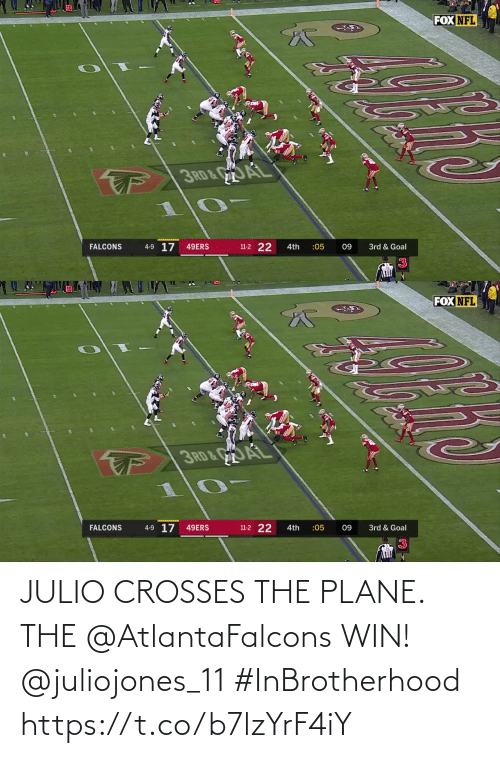plane: FOX NFL  3RD&AL  4-9 17  11-2 22  FALCONS  49ERS  3rd & Goal  4th  :05  09   FOX NFL  3RD& AL  11-2 22  4-9 17 49ERS  FALCONS  4th  :05  09  3rd & Goal JULIO CROSSES THE PLANE. THE @AtlantaFalcons WIN! @juliojones_11 #InBrotherhood https://t.co/b7lzYrF4iY