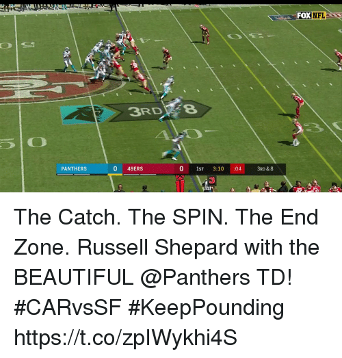 Foxe: FOX  NFL  3RDFe  PANTHERS  0 49ERS  0 1ST 3:10 :04  3RD & 8 The Catch. The SPIN. The End Zone.  Russell Shepard with the BEAUTIFUL @Panthers TD! #CARvsSF #KeepPounding https://t.co/zpIWykhi4S