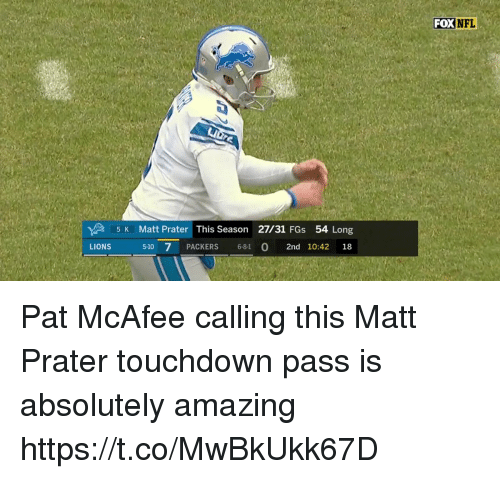 Memes, Nfl, and Lions: FOX  NFL  5 K Matt Prater This Season 27/31 FGs 54 Long  5-10 7 PACKERS 6-8-1 0 2nd 10:42 18  LIONS Pat McAfee calling this Matt Prater touchdown pass is absolutely amazing  https://t.co/MwBkUkk67D