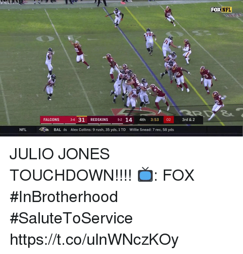 Memes, Nfl, and Washington Redskins: FOX  NFL  70  FALCONS 3-4 31 REDSKINS 5-2 14 4th 3:53 02 3rd & 2  NFL BAL ds Alex Collins: 9 rush, 35 yds, 1 TD Willie Snead: 7 rec, 58 yds JULIO JONES TOUCHDOWN!!!!  📺: FOX #InBrotherhood #SaluteToService https://t.co/ulnWNczKOy