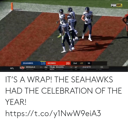 Football, Nfl, and Sports: FOX NFL  83  18 BROWNS  20  SEAHAWKS  :22  2nd  36  2nd QTR  :15  EBENGALS  10  RAVENS  0-5  3-2  NFL  CHIEE IT'S A WRAP!   THE SEAHAWKS HAD THE CELEBRATION OF THE YEAR!   https://t.co/y1NwW9eiA3