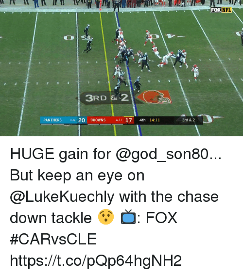 God, Memes, and Nfl: FOX NFL  85  (TI  3RD & -2  PANTHERS 6-6 20 BROWNS 4-71 17 4th 14:11  3rd & 2 HUGE gain for @god_son80...  But keep an eye on @LukeKuechly with the chase down tackle 😯  📺: FOX #CARvsCLE https://t.co/pQp64hgNH2