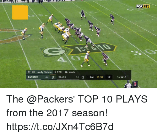 Memes, Nfl, and Bears: FOX  NFL  87 WR Jordy Nelson 1 REC 14 Yards  PACKERS 44 3 BEARS  3-5 3 2nd 11:52 12 1st & 10 The @Packers' TOP 10 PLAYS from the 2017 season! https://t.co/JXn4Tc6B7d