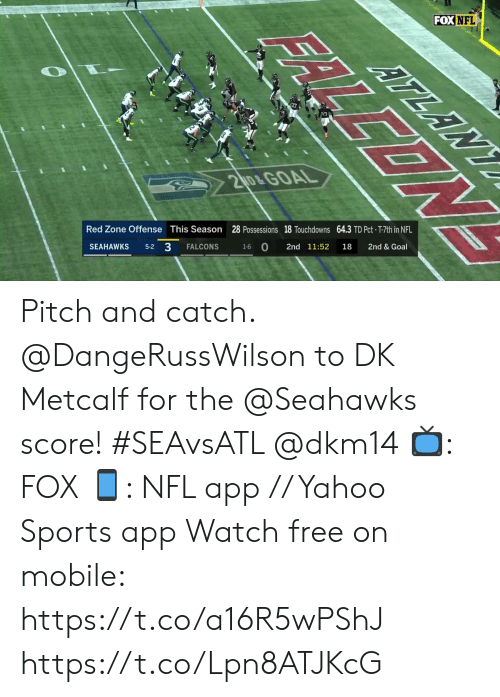 Metcalf: FOX NFL  ATLANY  17  20&GOAL  28 Possessions 18 Touchdowns 64.3 TD Pct- T-7th in NFL  2nd & Goal  This Season  Red Zone Offense  18  2nd 11:52  1-6 O  FALCONS  5-2 3  SEAHAWKS  FALLEON Pitch and catch.  @DangeRussWilson to DK Metcalf for the @Seahawks score! #SEAvsATL @dkm14  📺: FOX 📱: NFL app // Yahoo Sports app Watch free on mobile: https://t.co/a16R5wPShJ https://t.co/Lpn8ATJKcG
