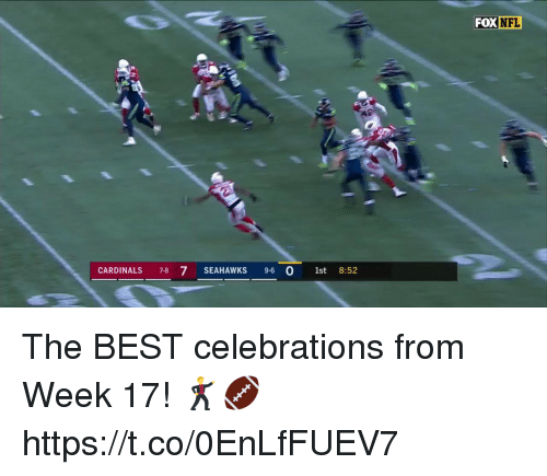 Memes, Nfl, and Best: FOX NFL  CARDINALS 7-8 7 SEAHAWKS 9-6 O 1st  8:52 The BEST celebrations from Week 17! 🕺🏈 https://t.co/0EnLfFUEV7