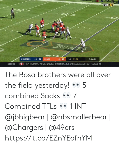 San Francisco 49ers, Memes, and Nfl: FOX NFL  FRD&  3-3 O  2-5 0  CHARGERS  BEARS  1st  11:32  3rd &11  SCORES  SF OUBTFUL: T Staley (fibula) QUESTIONABLE: WR Goodwin (not injury related), RB The Bosa brothers were all over the field yesterday! 👀 5 combined Sacks 👀 7 Combined TFLs 👀 1 INT  @jbbigbear | @nbsmallerbear | @Chargers | @49ers https://t.co/EZnYEofnYM
