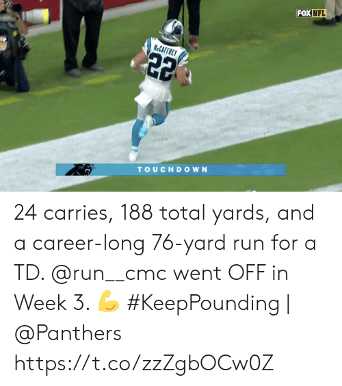 Memes, Nfl, and Run: FOX NFL  H&CAFFRET  22  TOUCHDOWN 24 carries, 188 total yards, and a career-long 76-yard run for a TD.   @run__cmc went OFF in Week 3. ?  #KeepPounding | @Panthers https://t.co/zzZgbOCw0Z