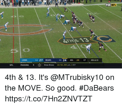 Memes, Nfl, and Bears: FOX NFL  LIONS  5-4 27 BEARS 36 24 4th :  28  07  4th & 13  NFL  PASSING 6  Drew Brees  22/34, 250 yds, 1 INT 4th & 13.  It's @MTrubisky10 on the MOVE.  So good. #DaBears https://t.co/7Hn2ZNVTZT