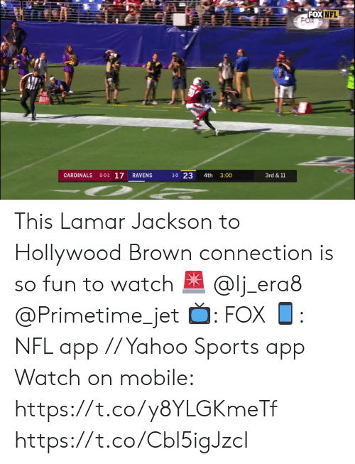 Cardinals: FOX NFL  O-0-1 17  1-0 23  CARDINALS  RAVENS  4th  3:00  3rd & 11 This Lamar Jackson to Hollywood Brown connection is so fun to watch 🚨 @lj_era8 @Primetime_jet    📺: FOX 📱: NFL app // Yahoo Sports app Watch on mobile: https://t.co/y8YLGKmeTf https://t.co/Cbl5igJzcI
