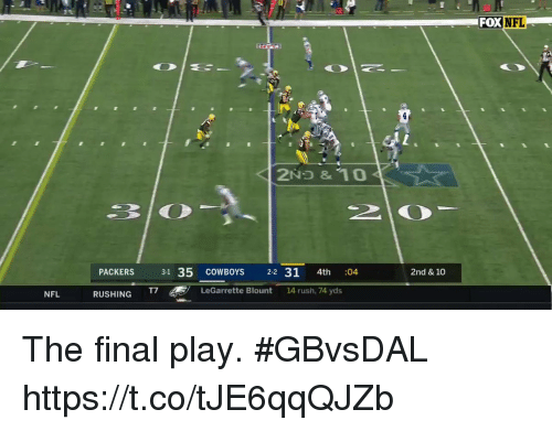 legarrette blount: FOX  NFL  PACKERS 31 35 c  COWBOYS  2-2 31 4th :  04  2nd & 10  NFL  RUSHING T7  LeGarrette Blount 14 rush, 74 yds The final play. #GBvsDAL https://t.co/tJE6qqQJZb