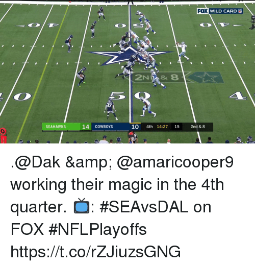 Dallas Cowboys, Memes, and Magic: FOX WILD CARD  37  SEAHAWKS  14 COWBOYS  10 4th 14:27 15 2nd & 8 .@Dak & @amaricooper9 working their magic in the 4th quarter.  📺: #SEAvsDAL on FOX #NFLPlayoffs https://t.co/rZJiuzsGNG