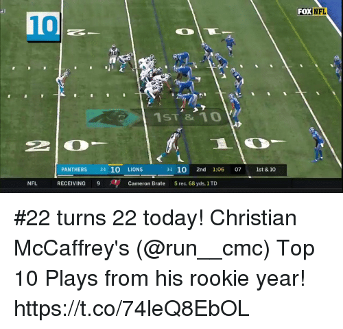 cmc: FOXNFL  10  LO  ji  1ST1o  PANTHERS 3-1 10 LIONS  3-1 10 2nd 1:06 07 1st &10  NFL  RECEIVING 9  Cameron Brate  5 rec, 68 yds, 1 TD #22 turns 22 today!  Christian McCaffrey's (@run__cmc) Top 10 Plays from his rookie year! https://t.co/74leQ8EbOL