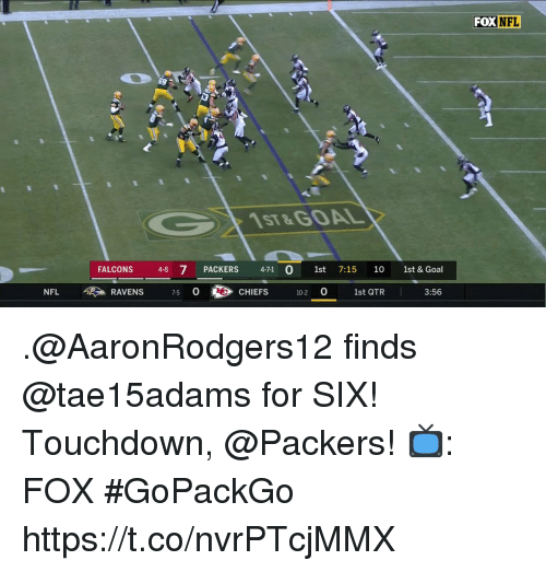 Memes, Nfl, and Chiefs: FOXNFL  1ST&GOAL  FALCONS 48 7 PACKERS 471 0 1st 7:15 10 1st &Goal  NFL > RAVENS 7-5 OC》 CHIEFS i0-20 1st QTR 3:56  CHIEFS 102 0 1st QTR .@AaronRodgers12 finds @tae15adams for SIX!  Touchdown, @Packers!  📺: FOX #GoPackGo https://t.co/nvrPTcjMMX