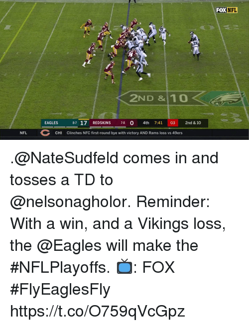 San Francisco 49ers, Philadelphia Eagles, and Memes: FOXNFL  28  2ND &10  EAGLES 87 17 REDSKINS 7-8 0 4th 7:41 03 2nd & 10  NFL  CHI  Clinches NFC first-round bye with victory AND Rams loss vs 49ers .@NateSudfeld comes in and tosses a TD to @nelsonagholor.  Reminder: With a win, and a Vikings loss, the @Eagles will make the #NFLPlayoffs.  📺: FOX #FlyEaglesFly https://t.co/O759qVcGpz