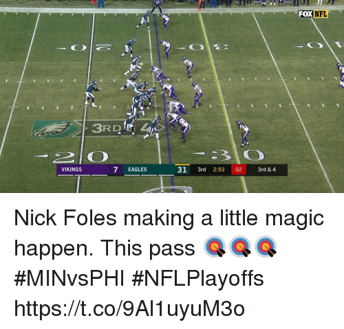 Philadelphia Eagles, Memes, and Magic: FOXNFL  7 EAGLES  31 3rd 2:52 02 3rd & 4  VIKINGS Nick Foles making a little magic happen.  This pass 🎯🎯🎯 #MINvsPHI #NFLPlayoffs https://t.co/9Al1uyuM3o