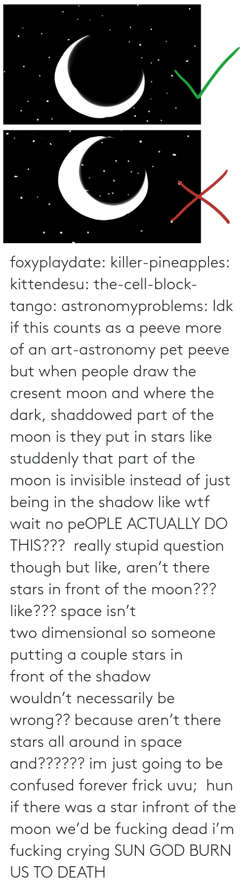 Stars: foxyplaydate: killer-pineapples:  kittendesu:  the-cell-block-tango:  astronomyproblems:  Idk if this counts as a peeve more of an art-astronomy pet peeve but when people draw the cresent moon and where the dark, shaddowed part of the moon is they put in stars like studdenly that part of the moon is invisible instead of just being in the shadow like wtf  wait no peOPLE ACTUALLY DO THIS???   really stupid question though but like, aren't there stars in front of the moon??? like??? space isn't two dimensional so someone putting a couple stars in front of the shadow wouldn't necessarily be wrong?? because aren't there stars all around in space and?????? im just going to be confused forever frick uvu;   hun if there was a star infront of the moon we'd be fucking dead  i'm fucking crying    SUN GOD BURN US TO DEATH
