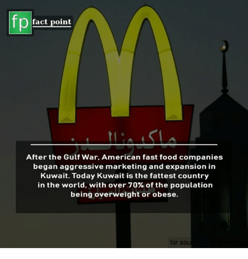 fattest: fp  fact point  After the Gulf War, American fast food companies  began aggressive marketing and expansion in  Kuwait. Today Kuwait is the fattest country  in the world, with over 70% of the population  being overweight or obese.  for sou
