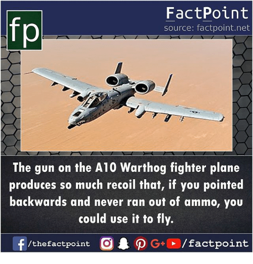 a10 warthog: fp  FactPoint  source: factpoint.net  The gun on the A10 Warthog fighter plane  produces so much recoil that, if you pointed  backwards and never ran out of ammo, you  could use it to fly.