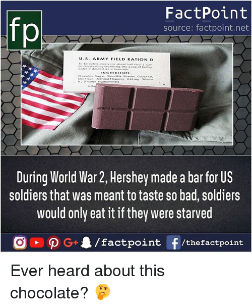 Bad, Memes, and Soldiers: fp  FactPoint  source: factpoint.net  U.S. ARMY FIELD RATION D  During World War 2, Hershey made a bar for US  soldiers that was meant to taste so bad, soldiers  would only eat it if they were starved Ever heard about this chocolate? 🤔