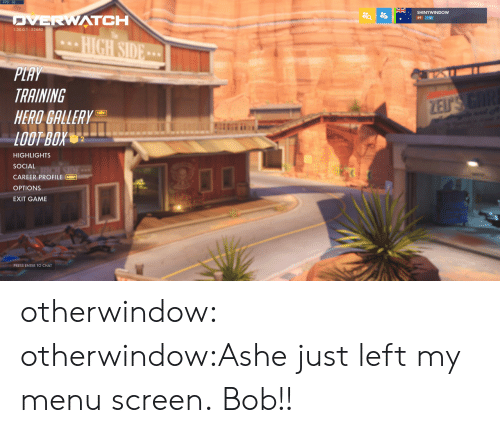 Ashe: FPS: 56  ERWATCH  69 10  1.30.0.1-52680  TRAINING  HERO GALLERY  entin  HIGHLIGHTS  SOCIAL  CAREER PROFILE  OPTIONS  EXIT GAME  0  PRESS ENTER TO CHAT otherwindow:  otherwindow:Ashe just left my menu screen. Bob!!