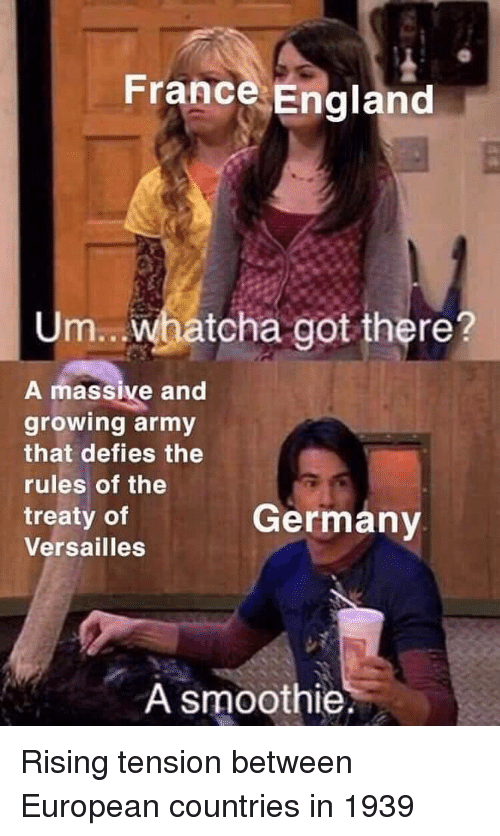 Smoothie: France England  Um.. Whatcha got there?  A massive and  growing army  that defies the  rules of the  treaty of  Versailles  Germanv  A smoothie. Rising tension between European countries in 1939