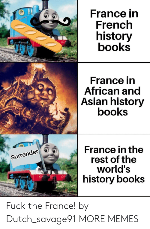Asian, Books, and Dank: France in  French  history  books  France in  African and  Asian history  books  France in the  rest of the  world's  history books  Surrender Fuck the France! by Dutch_savage91 MORE MEMES