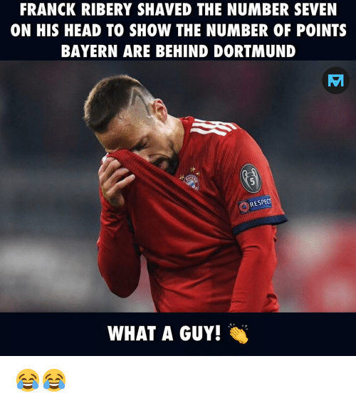 ribery: FRANCK RIBERY SHAVED THE NUMBER SEVEN  ON HIS HEAD TO SHOW THE NUMBER OF POINTS  BAYERN ARE BEHIND DORTMUND  RESPEC  WHAT A GUY! 😂😂
