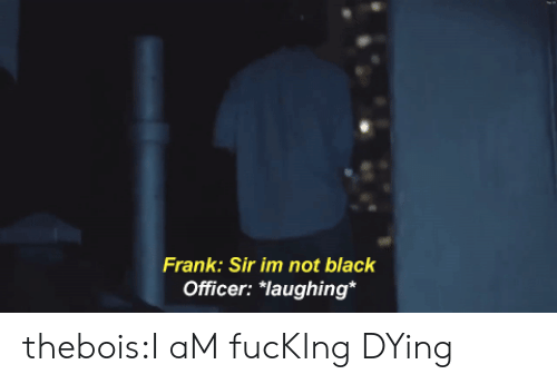 """Fucking, Tumblr, and Black: Frank: Sir im not black  Officer: """"laughing* thebois:I aM fucKIng DYing"""