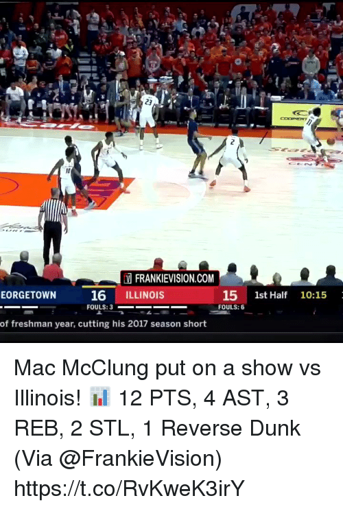 Freshman Year: FRANKIEVISION.COM  16 ILLINOIS  15 1st Half 10:15  FOULS: 6  EORGETOWN  of freshman year, cutting his 2017 season short Mac McClung put on a show vs Illinois!   📊 12 PTS, 4 AST, 3 REB, 2 STL, 1 Reverse Dunk   (Via @FrankieVision)   https://t.co/RvKweK3irY