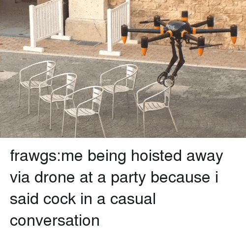 Drone: frawgs:me being hoisted away via drone at a party because i said cock in a casual conversation