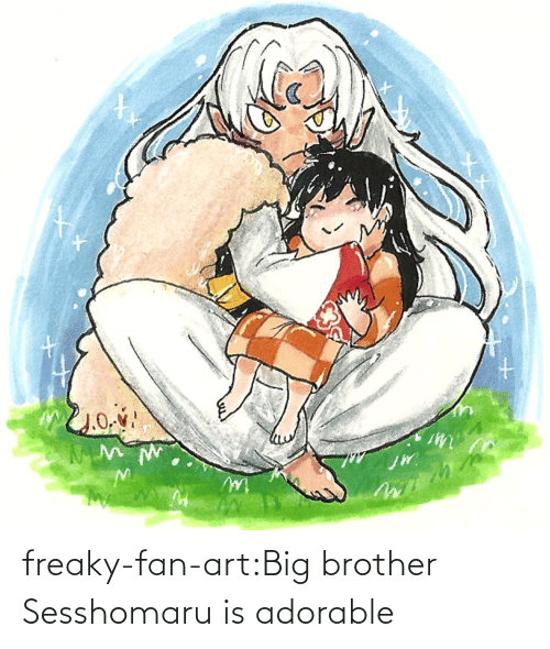 fan art: freaky-fan-art:Big brother Sesshomaru is adorable
