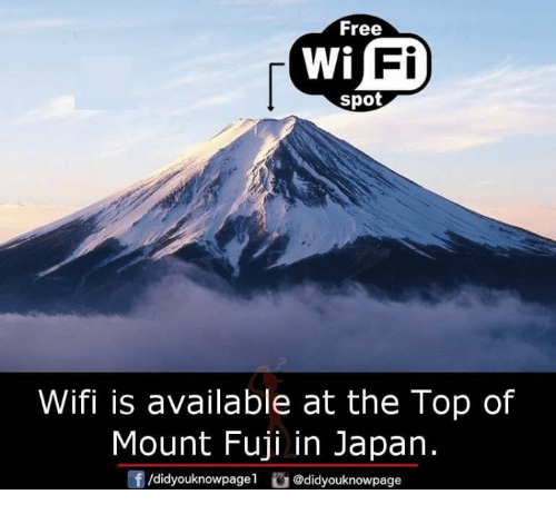 Wifie: Free  Fi  spot  Wifi is available at the Top of  Mount Fuji in Japan.  /d.dyouknow page1舀@didyouknowpage  団