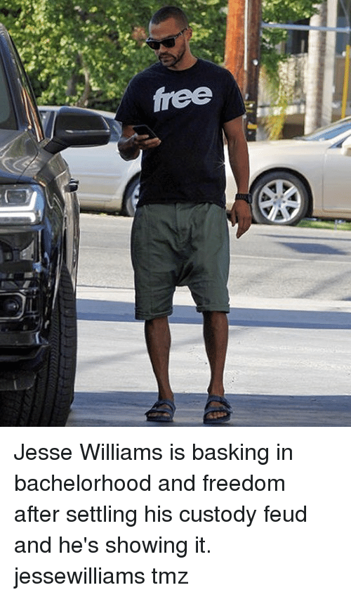 Memes, Free, and Freedom: free Jesse Williams is basking in bachelorhood and freedom after settling his custody feud and he's showing it. jessewilliams tmz