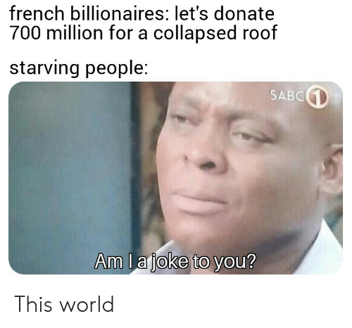 World, French, and Donate: french billionaires: let's donate  700 million for a collapsed roof  starving people:  SABC  Am l a joke to you? This world