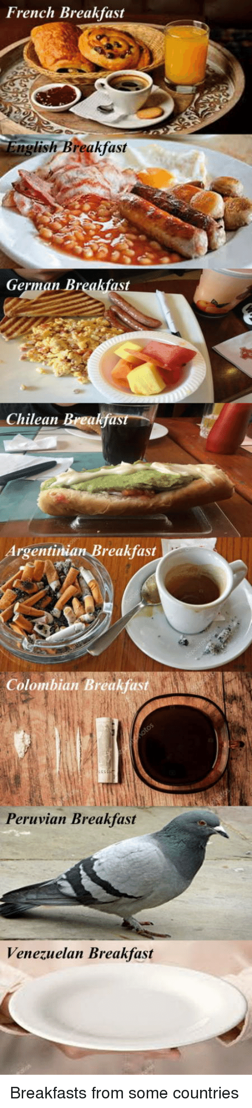 Breakfast, Chilean, and Argentinian: French Breakfast  ng  lish Breakfast  German Br  st  Chilean Breakfast  Argentinian Breakfast  Colombian Breakfast  Peruvian Breakfast  Venezuelan Breakfast Breakfasts from some countries